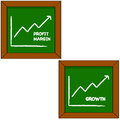 Profit and growth cartoon illustration showing a blackboard with the drawing of a graph portraying profits for a company Royalty Free Stock Image