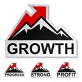 Profit growth winter mountain stickers Royalty Free Stock Image
