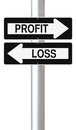 Profit or loss conceptual one way street signs on and Royalty Free Stock Photo