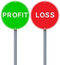 Profit or loss and conceptual road signs Royalty Free Stock Photos