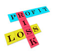 Profit loss and risk isolated words on color paper Royalty Free Stock Image