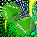 Profit, Loss, Risks Dice Background Shows Risky Investments Royalty Free Stock Photo