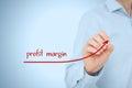 Profit margin increase concept businessman plan predict growth represented by graph Stock Photos
