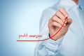 Profit margins increase concept businessman plan predict growth represented by graph Royalty Free Stock Images