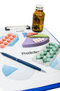 Profit and prediction for pills companies marketing report sales financial results Royalty Free Stock Photography