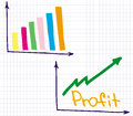 Profit revenue chart financial of and loss Stock Photo