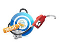 Profit target with a gas pump nozzle illustration design over white background Royalty Free Stock Image