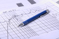 Profitability close up shot of a pen on stock price chart Royalty Free Stock Image