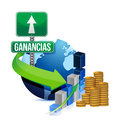Profits globe concept in Spanish Stock Image
