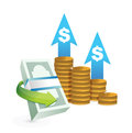 Profits going up concept illustrations design over a white background Royalty Free Stock Image