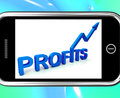 Profits On Smartphone Showing Monetary Increase Royalty Free Stock Photography