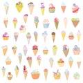 Progettazione divertente stabilita del gelato disegnata a mano Fotografie Stock