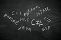 Programing languages several programming names written in on the blackboard Stock Photos