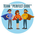 Programmers developers process coding teamwork programming c communication concept Stock Image