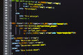Programming code on computer screen Royalty Free Stock Photo