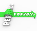 Progress arrow jumps over perfection move forward improve word rides a green the word to illustrate a drive toward improvement and Royalty Free Stock Images