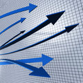 Progress arrows shows business graph and advancement representing progressing Royalty Free Stock Photo
