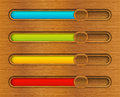 Progress bars set of color on wooden background Stock Photo