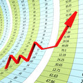 Progress graph indicates raise graphs and infochart showing financial report Stock Image