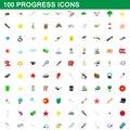 100 progress icons set, cartoon style