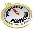 Progress vs perfection gold compass point to improvement pointing forward movement and momentum and away from the drive for which Royalty Free Stock Photo