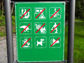 Prohibit sign for all at the forest no waste no camping no bicycle bike no waste from dogs no grill no football sport playing no Royalty Free Stock Photography