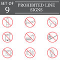 Prohibited color line icon set, red forbidden sign