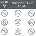 Prohibited line icon set, forbidden symbols