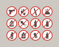 Prohibited luggage items. Airport restrictions. Dangerous stuff for airplane.
