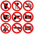 Prohibited signs illustration Royalty Free Stock Photography