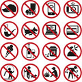 Prohibited signs set of various Royalty Free Stock Image