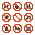 Prohibited Signs Set. Vector