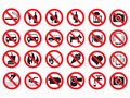 Prohibited signs vector set