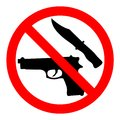 Weapon prohibited icon. Forbidding vector sign `No weapons` with gun and knife. Royalty Free Stock Photo