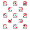 Prohibiting signs buttons symbols for children and adults Stock Image