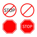 Prohibition no symbol Red round stop warning road sign set Template Isolated on white background. Flat design