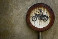 Prohibition prohibited only to motorcyclists rusted Royalty Free Stock Images