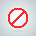 Prohibition road sign vector illustration. Stop icon.