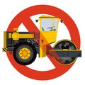 Prohibition of roadroller entry symbol. Heavy vehicles strict ban sign. Caution of construction machinery. Royalty Free Stock Photo