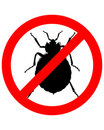 Prohibition sign for bedbugs Royalty Free Stock Images