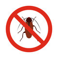 Prohibition sign bugs icon, flat style