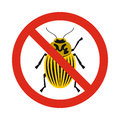 Prohibition sign colorado beetles icon, flat style