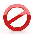 Prohibition sign d forbidden isolated on the white background Stock Images