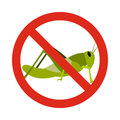 Prohibition sign grasshoppers icon, flat style