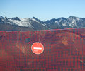 Prohibition sign in the mountains warning of dangers Royalty Free Stock Photos