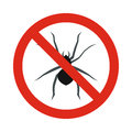 Prohibition sign spiders icon, flat style
