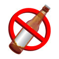 Prohibition signs with alcohol beer drink bottle
