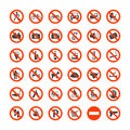 Prohibition Signs Icons Set. Vector