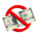 Prohibition signs with pack of dollar banknotes