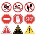 Prohibition signs set safety information vector illustration.